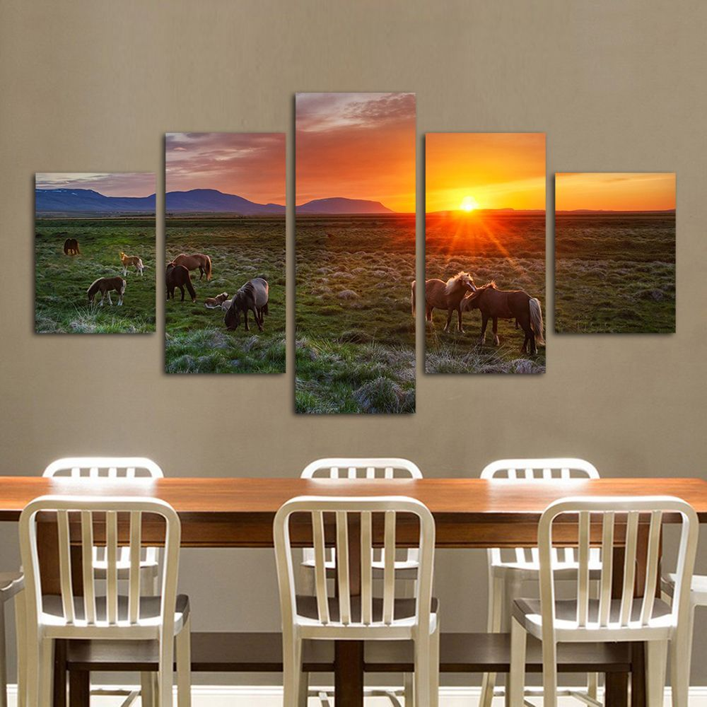 Qkart panels the herd of horses on the prair canvas art wall