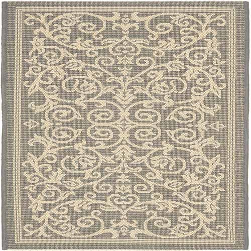 Courtyard Grey and Natural Rectangle: 6 Ft. 7 In. x 9 Ft. 6 In. Area Rug - (In Rectangular)