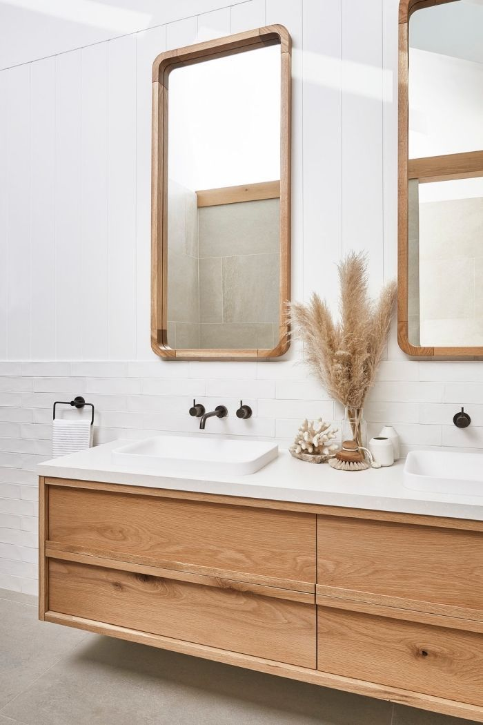 Photo of layout of a Scandinavian bathroom, white bathroom faience …
