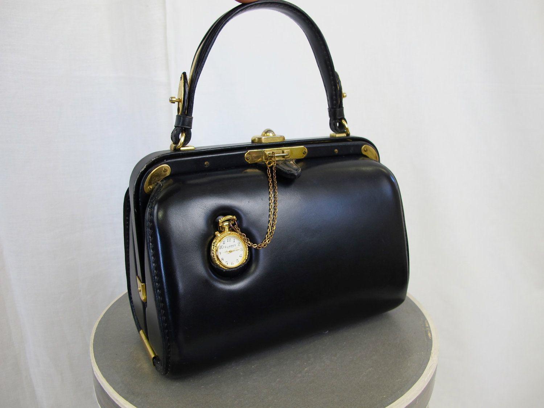 06c6bf49a87d 1950 s Vintage Clock Handbag by Fernande Desgranges