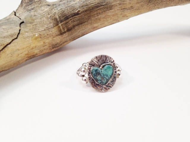 Silver and Turquoise Ring, Heart Women's Ring, Silver Stretch Band Ring, Elastic Women's Jewelry, Stretch Band Ring by babbleon on Etsy