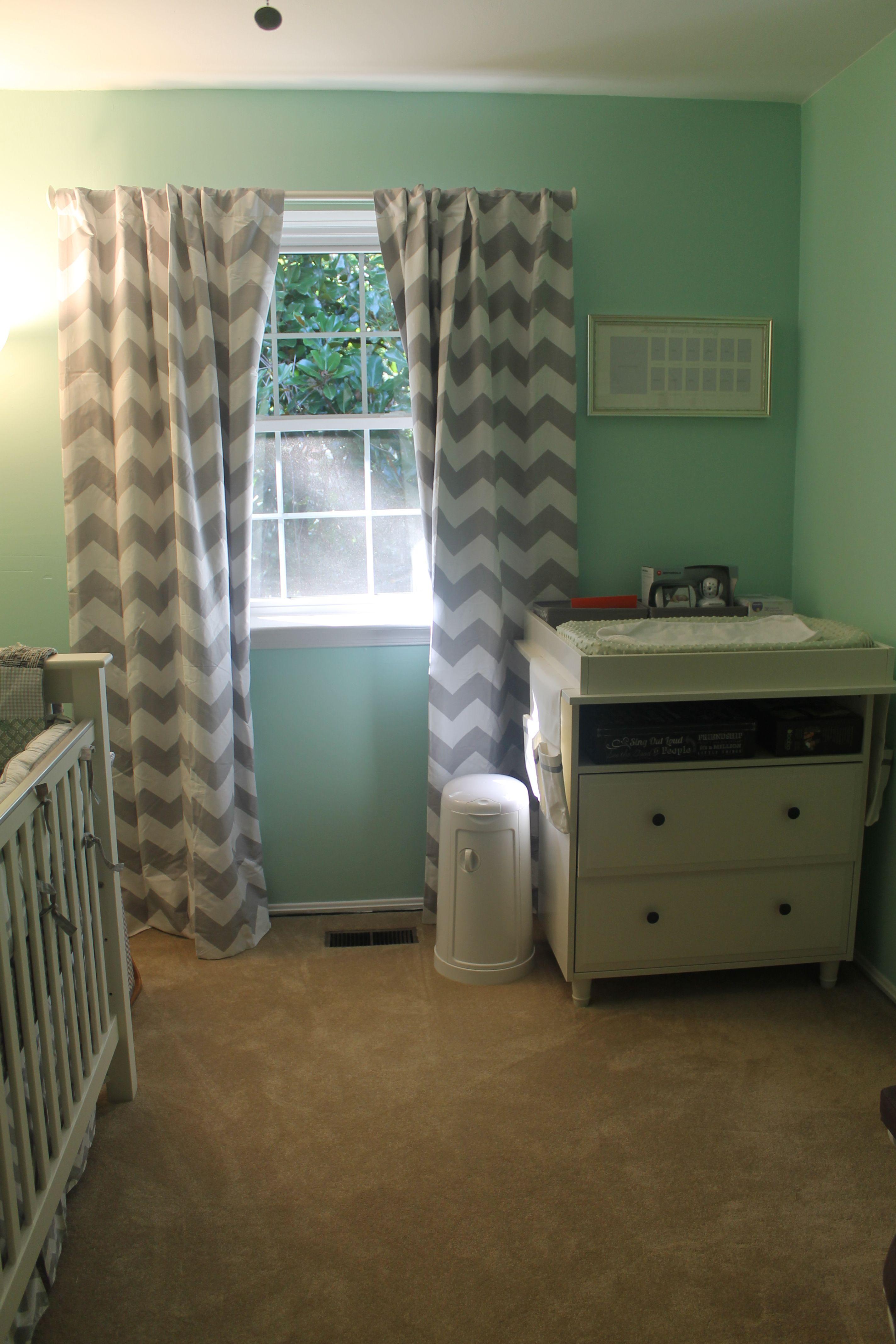 mint green grey chevron mustache nursery Pastel nursery