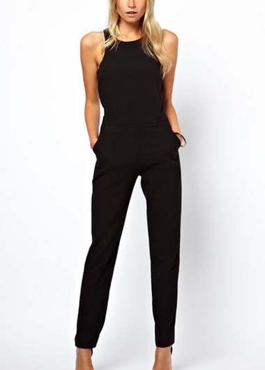 15011d8f313 Round Neck Black Ankle Length Jumpsuit   LegacyLooks.com 1800-639-6710