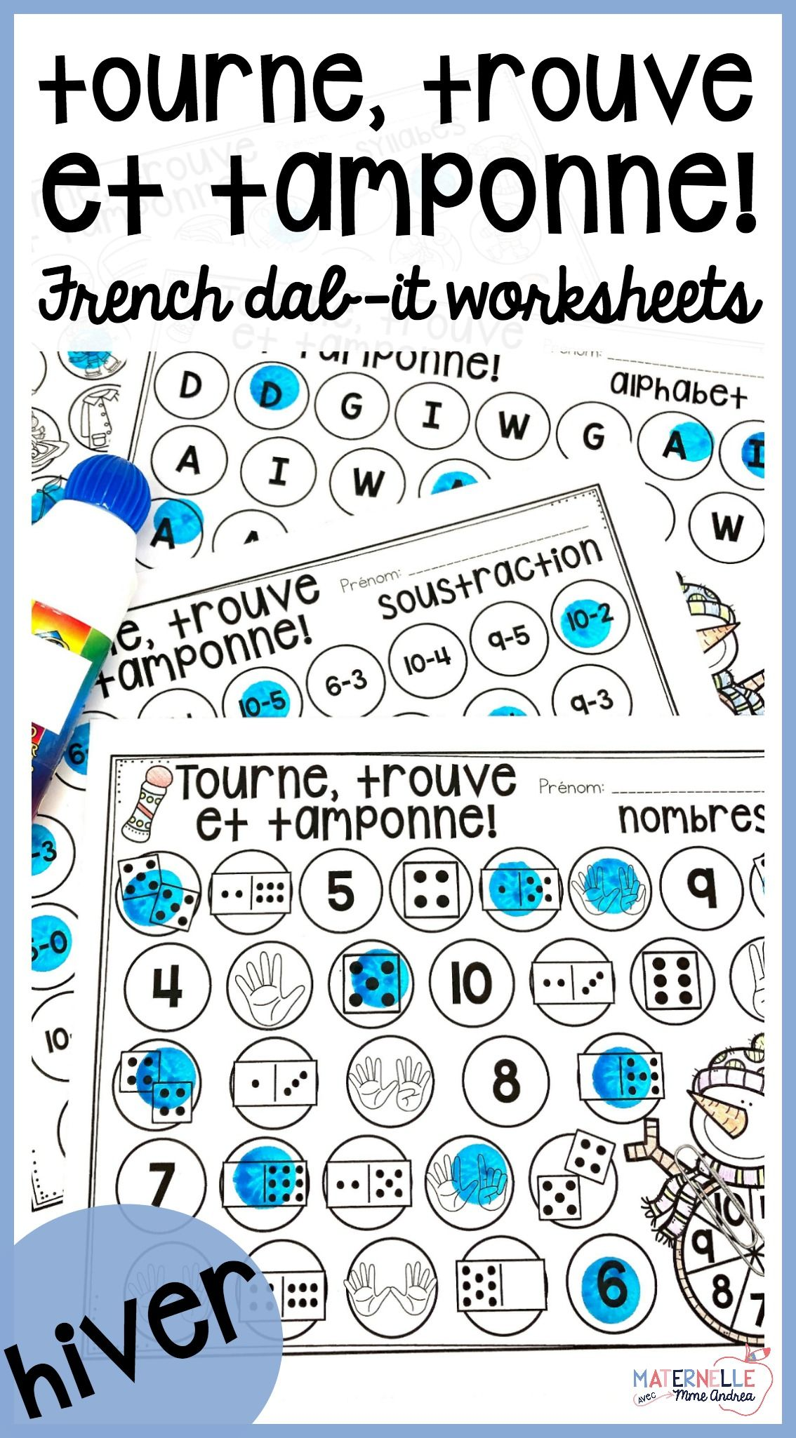 French Winter Math And Literacy Dab It Activities Hiver
