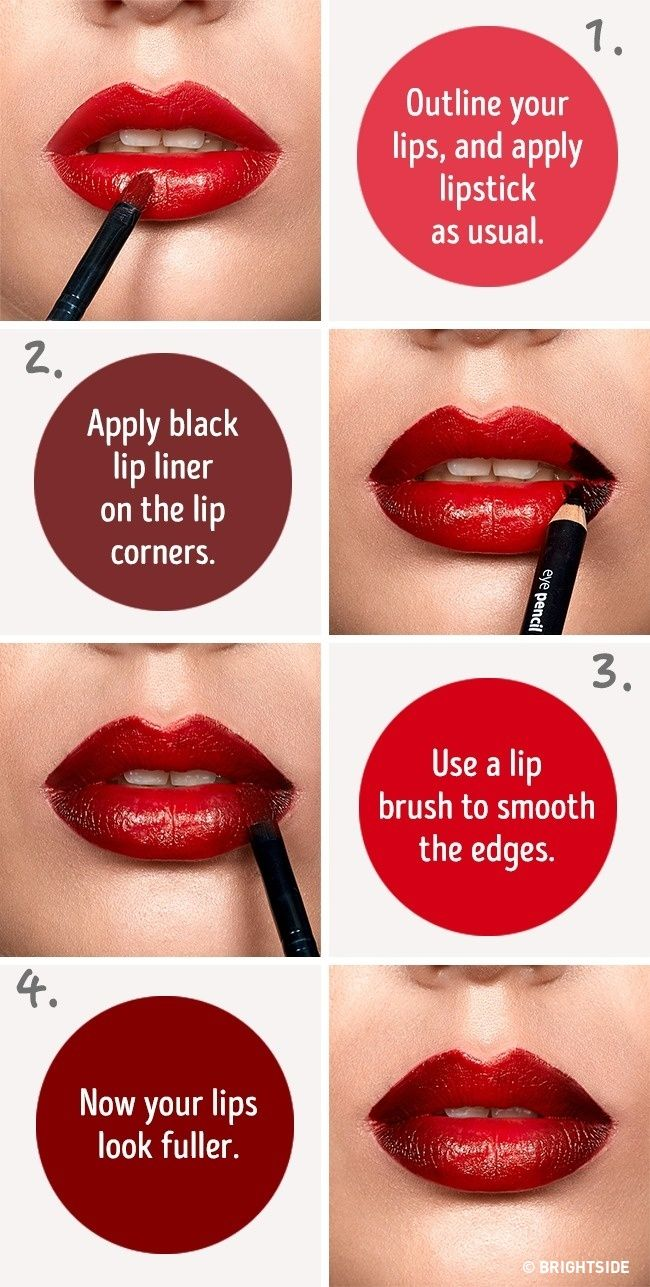 Six simple tricks that will make your lips look fuller http six simple tricks that will make your lips look fuller you need a red lipstick black lip liner and a kip brush baditri Image collections