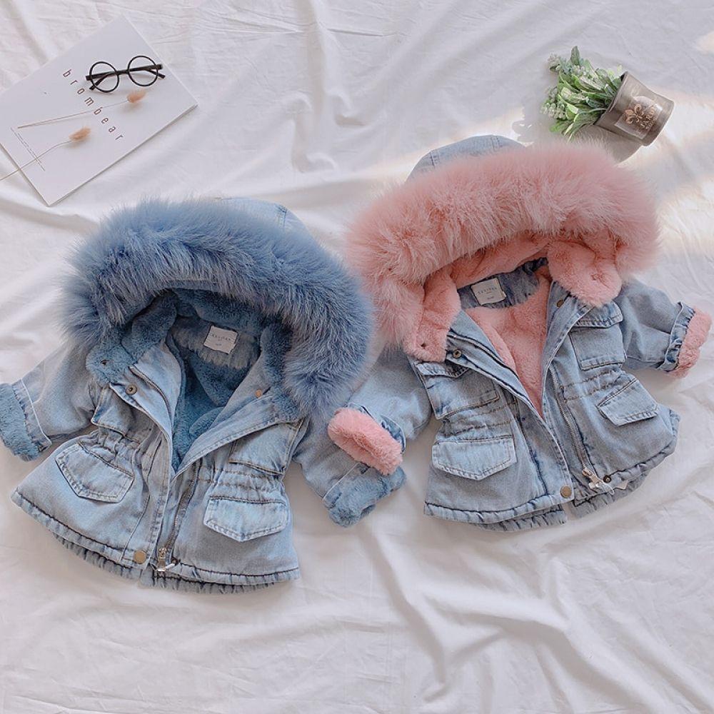 Baby Girl Denim Jacket Plus Velvet Real Fur Coat 1-5Y