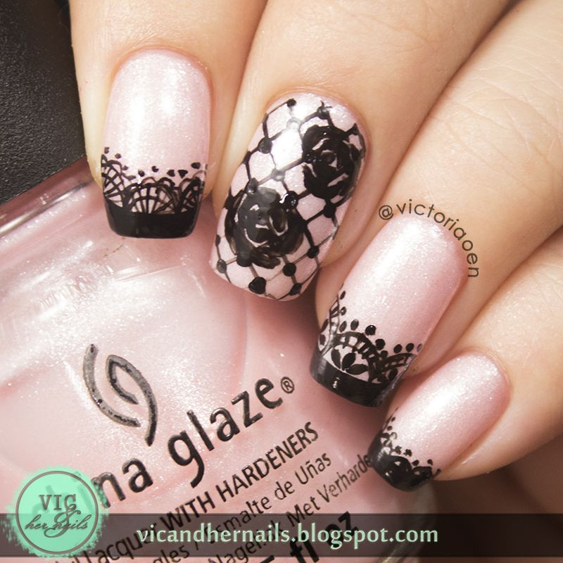 Vic And Her Nails Viccopycat Black Lace Nail Art By Onnie Studio