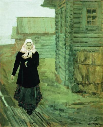 Andrei Ryabushkin - In A Village, Going To Liturgy, 1903