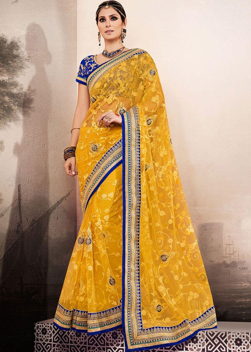 Bruna Laila bruna abdullah embroidered net saree in yellow | bollywood