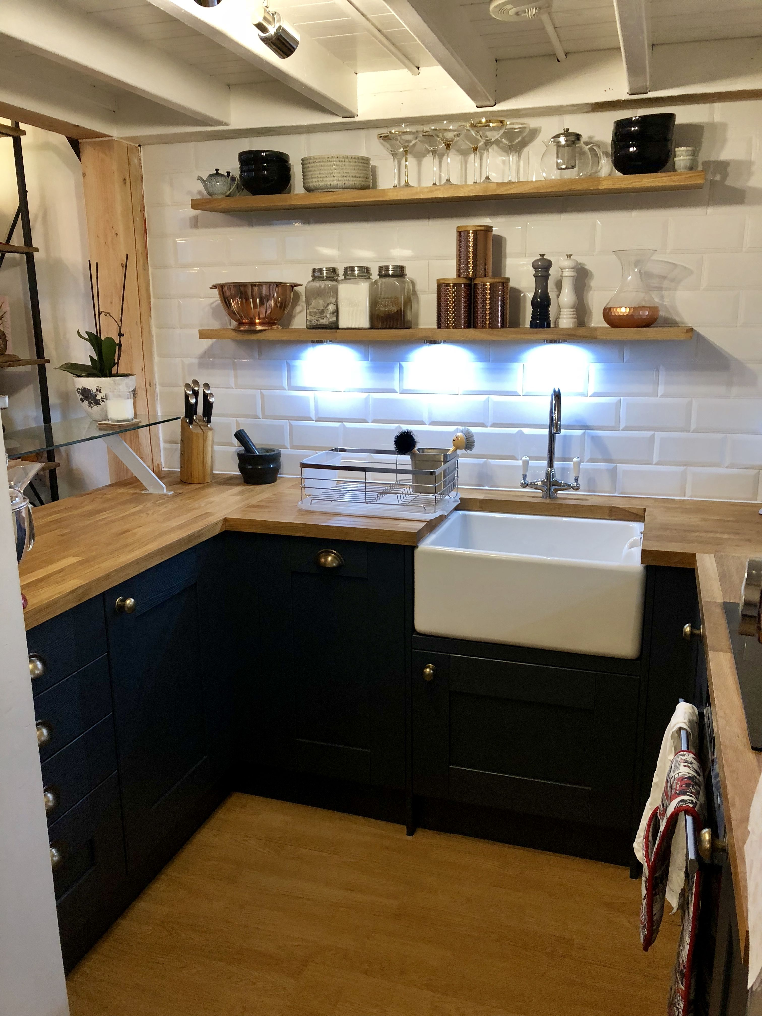 Charmant Small Kitchen. Under Bed Deck. Blue And Grey. Wickes Milton Midnight