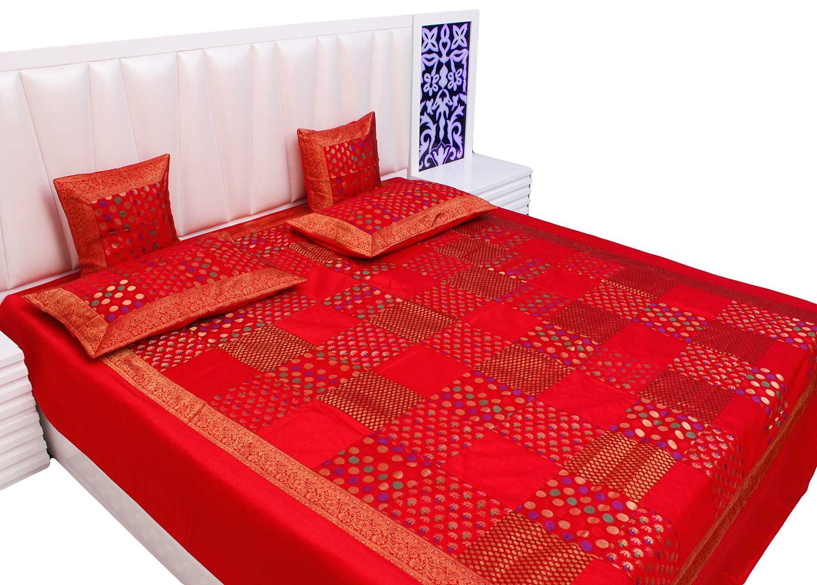 Bed sheets designs patchwork - Rajasthani Brocade Patch Work Design Silk Double Bed Cover Cushion Set