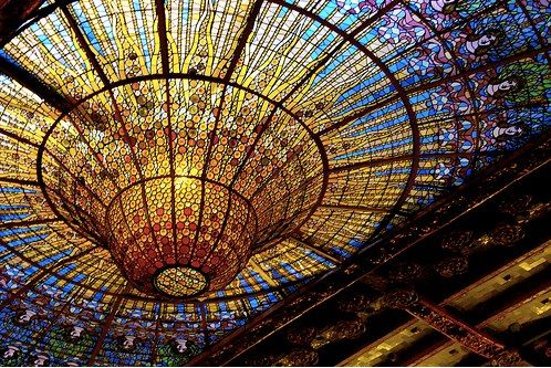 The famous glass dome of Palau de la Música Catalana, Barcelona. It was designed by architect Lluis Domenech Montaner and is a World Heritage Site by UNESCO.   Via: 11 eleven on facebook