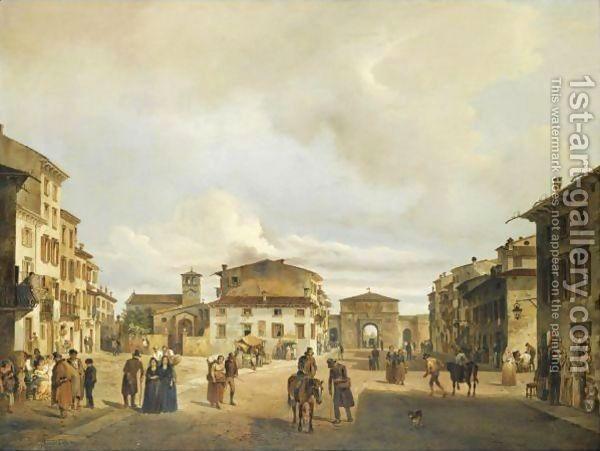 Carlo Ferrario:The Piazza Santa Toscana And Porta Vescovo, Verona