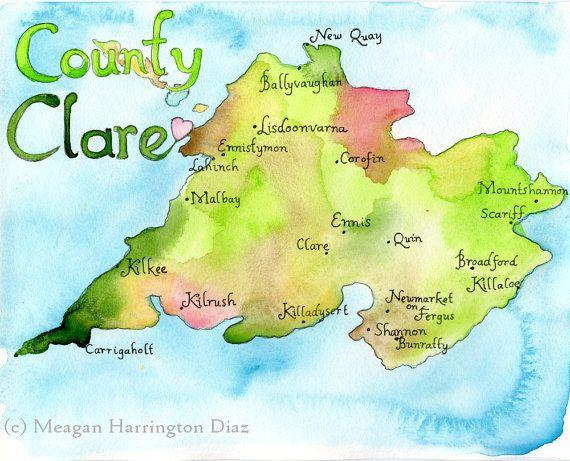 Map Art Print County Clare Ireland Map Irish Art Map Of