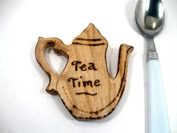 Rustic chunky wood Fridge Magnet  Tea Time by KnottyNotions, $10.00