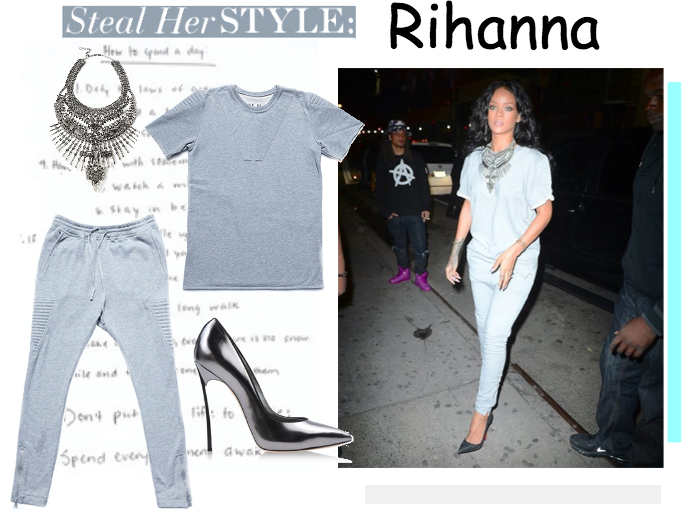 Стиль Рианны 2014: как сочетать спортивный костюм и каблуки Rihanna style  fashion look