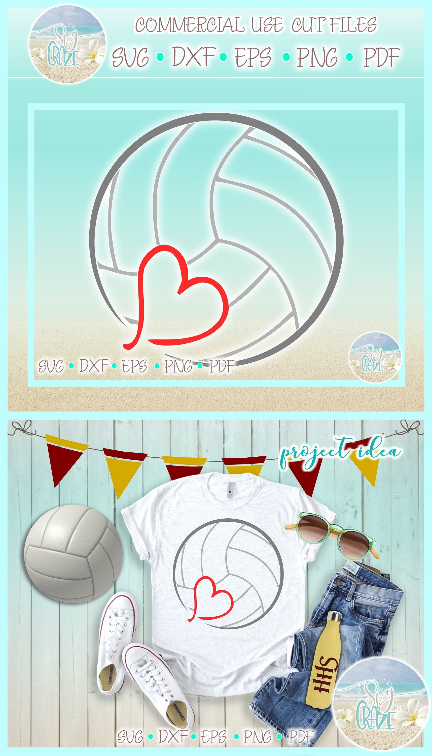 Volleyball With Heart Sports Enthusiast SVG Dxf Eps Png