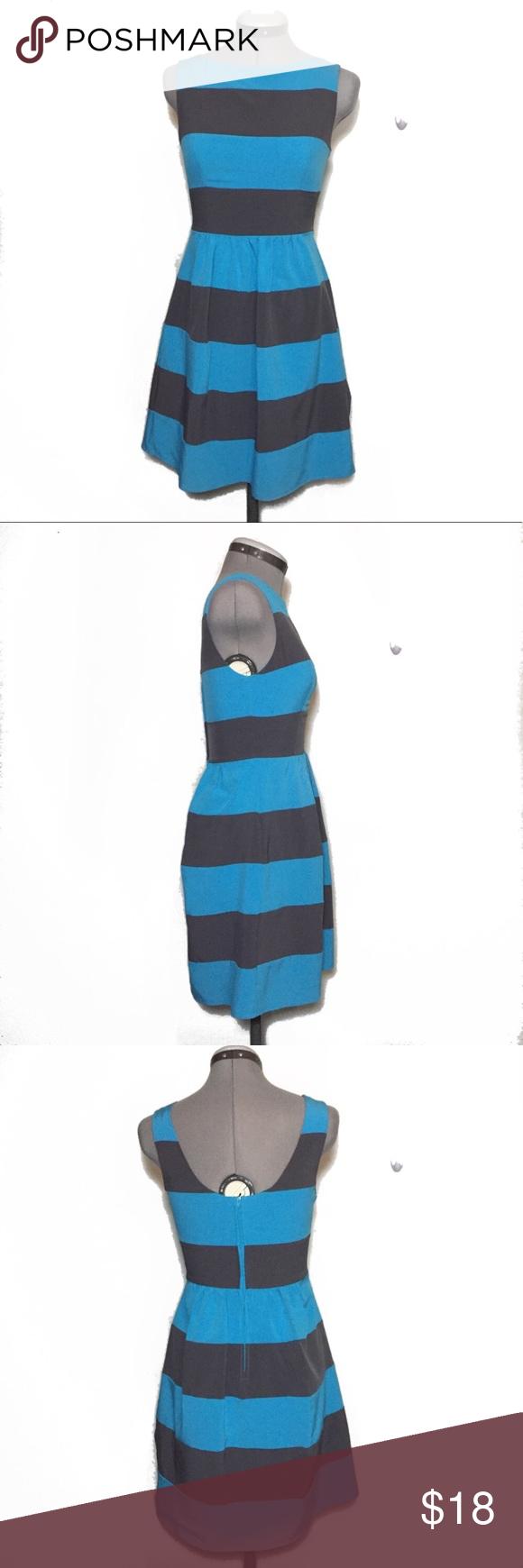 B darlin blue u gray stripe skater dress pinterest grey