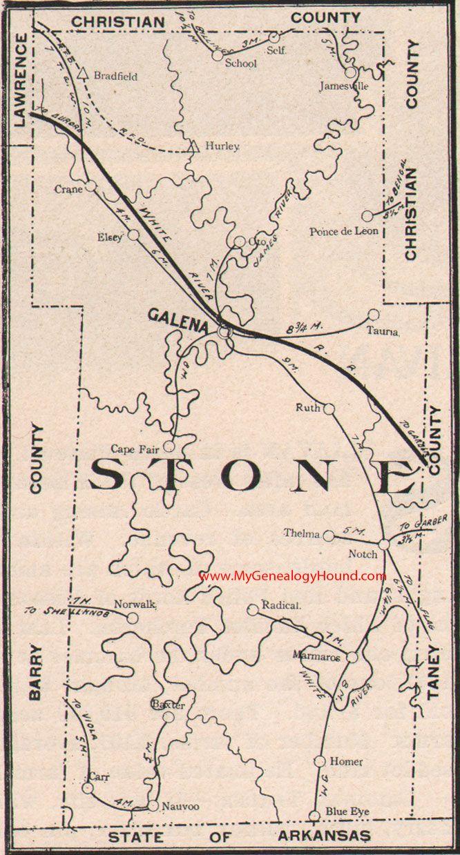 Stone County Missouri 1904 Map Christian County Missouri Galena