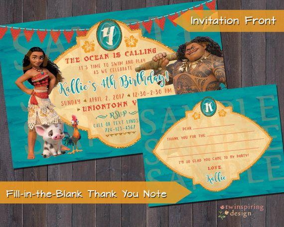 Moana Maui Birthday Party Invitation And Or Thank You Note