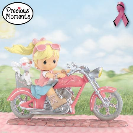 pink precious moments motorcyle breast cancer awareness figurine