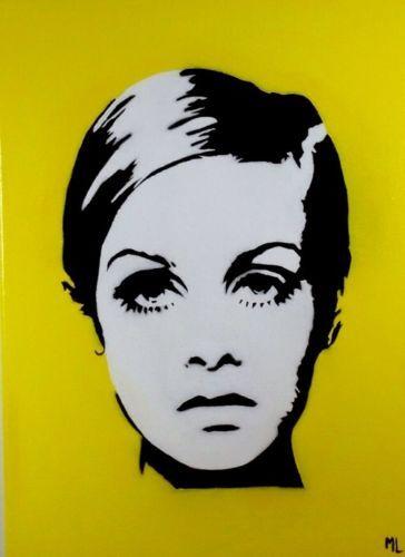 Twiggy Original Pop Art Portrait Celebrity 1960\'s Yellow Hand ...