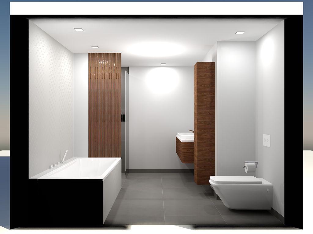 Badkamer // Hout // Tegel 90x90 // Visgraat Wij maken 3D Visuals ...