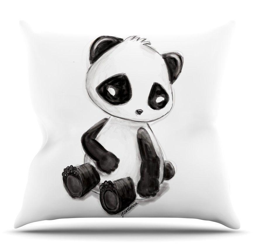 My Panda Sketch Throw Pillow