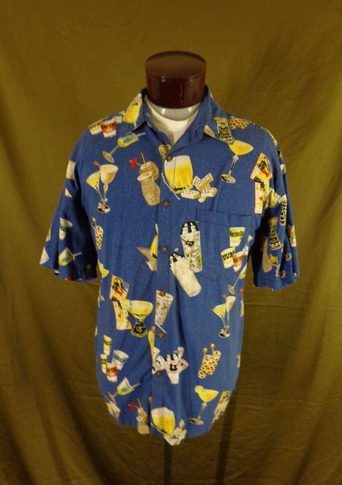 e3d9ed2d Vintage Blue High Seas Trading Co. Tiki Bar Luau Print Hawaiian Shirt-54-VLV  #HighSeasTradingCo #Hawaiian #VLV