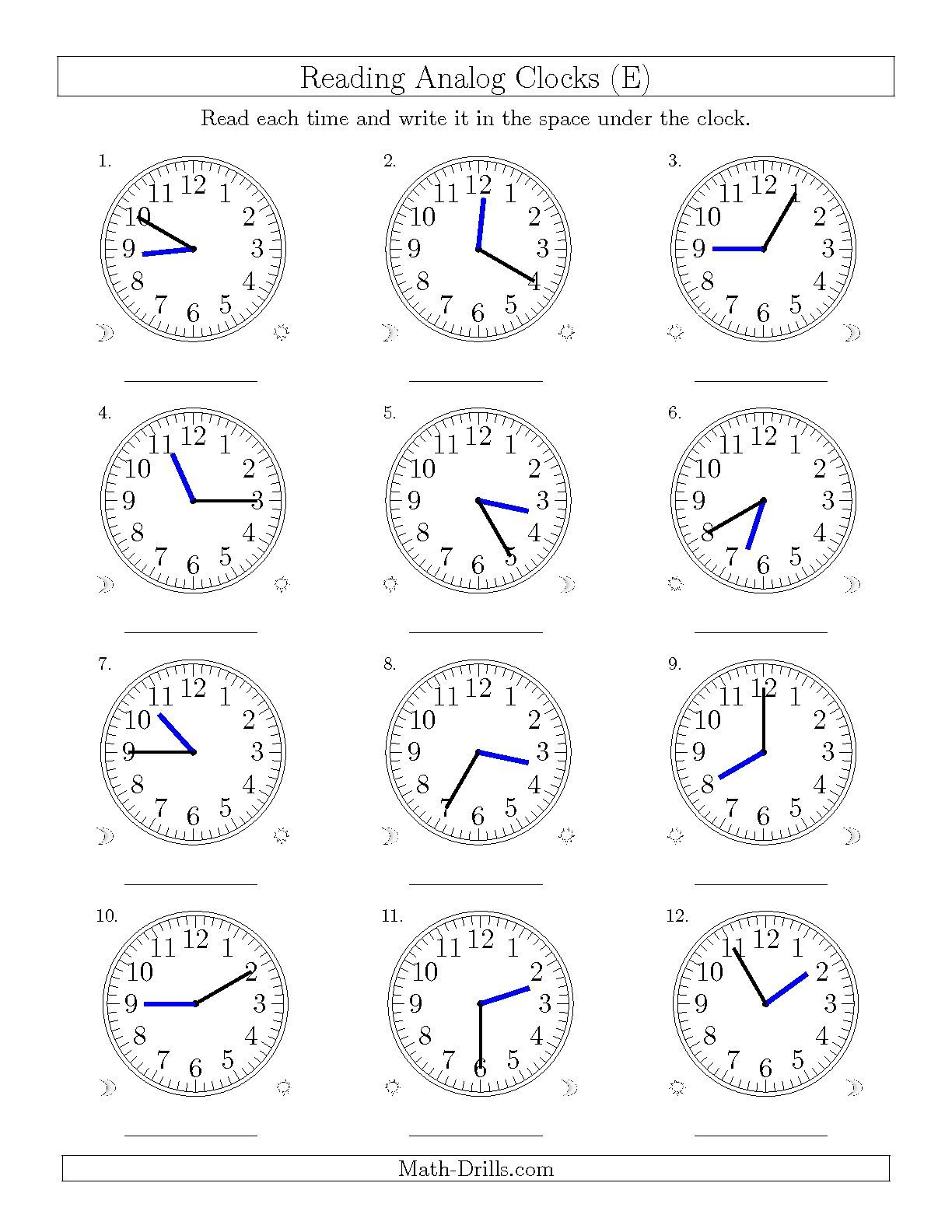 The Reading Time on 12 Hour Analog Clocks in 5 Minute Intervals (E ...