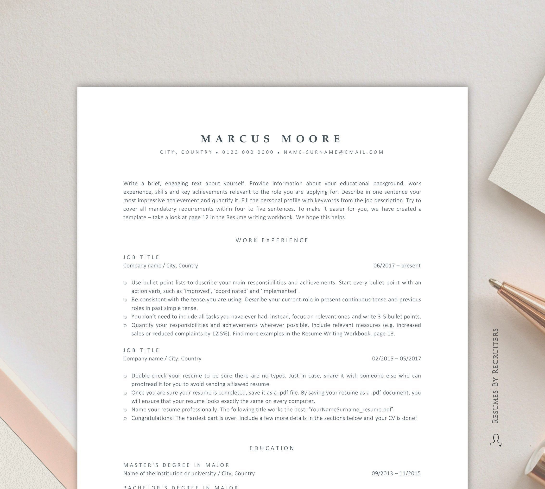 Ats Resume Template For Word Instant Download Ats Friendly Etsy In 2020 Resume Template Word Resume Template Cv Template Word