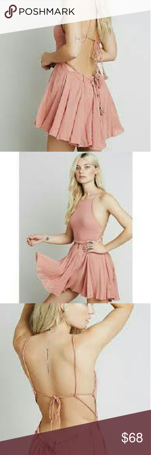 FREE PEOPLE Live for your smile  SMALL $78 Made from our sheer and gauzy Endless Summer fabric, this fit-and-flare mini dress features cutouts around the waist. Open strappy back with adjustable ties. Raw trim. Throw on top of a bikini or layer over one of our seamless styles for an effortless look. An Endless Summer- Whether you live the beach lifestyle year-round or dream of making the great escape, explore the collection of our most effortlessly ethereal style. Free People Dresses Midi