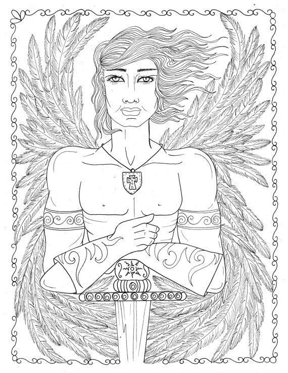 Male Warrior Angel Coloring Page Instant Download Christian Art To Color Bible Church Wings Digi Stamp Heaven Angel Coloring Pages Coloring Pages Bible Coloring