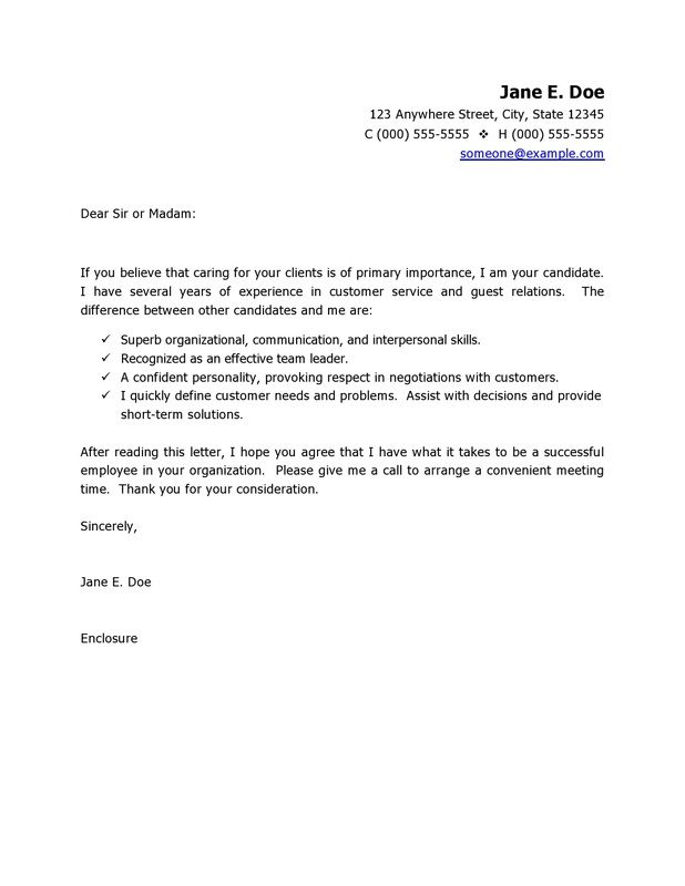 simple customer service cover letter