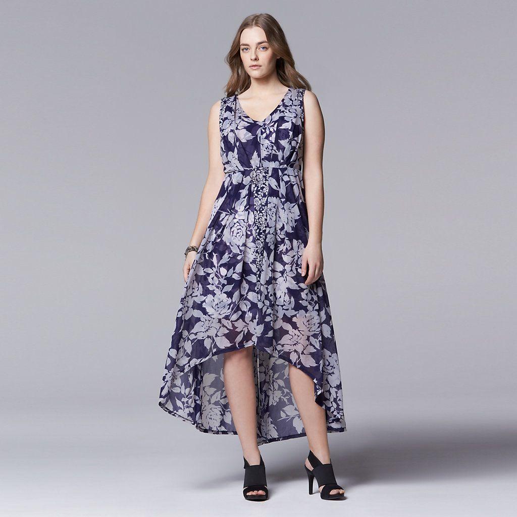 5e10d43a Plus Size Simply Vera Vera Wang Floral High-Low Maxi Dress | My ...