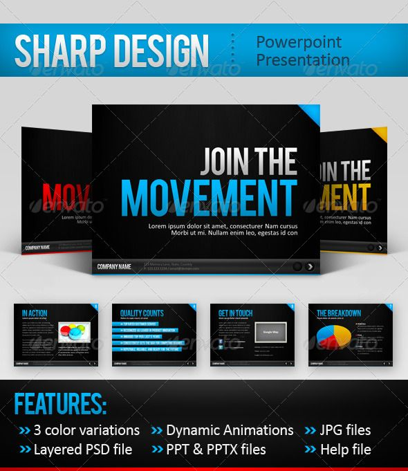 SharpDesign Powerpoint Template powerpoints Pinterest - types of power points