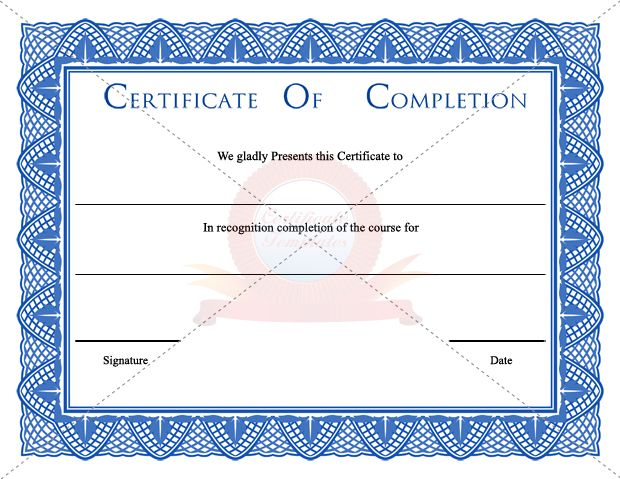 Certifiate Of Completion Certificate Template Pinterest