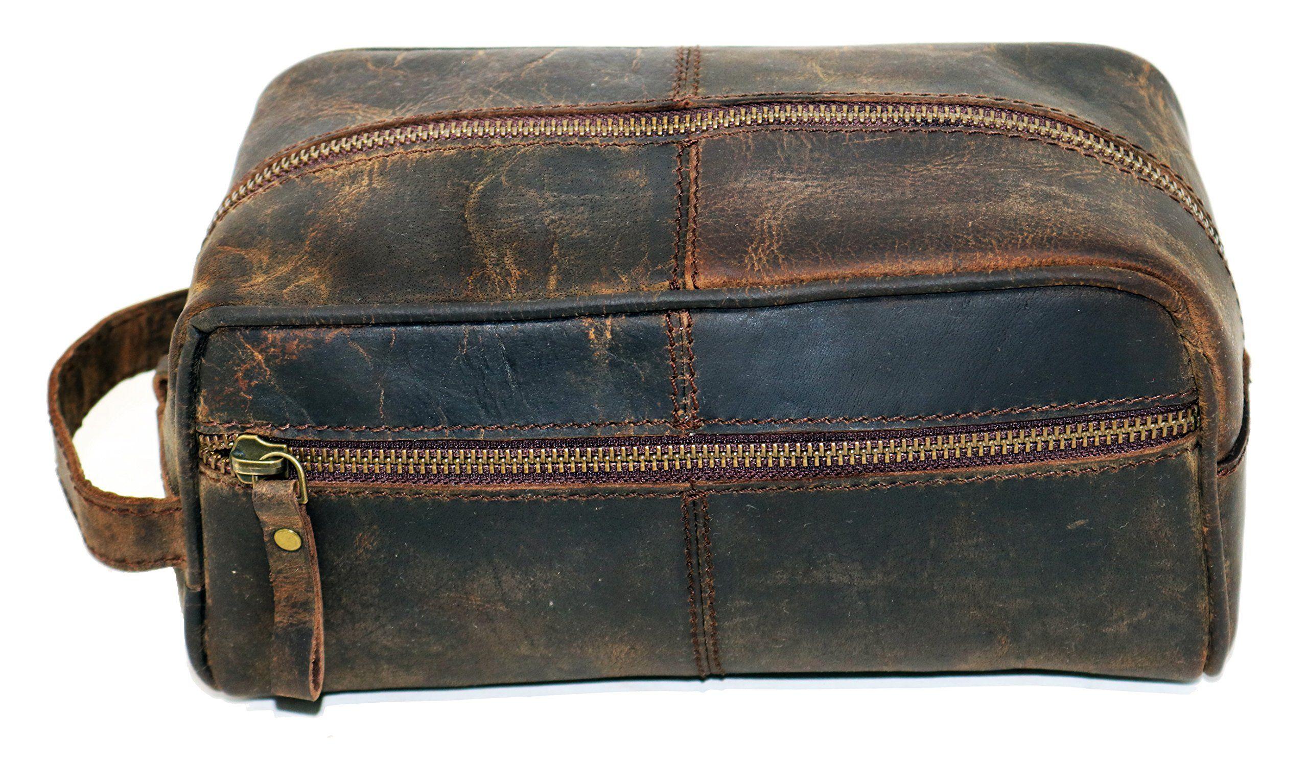 b97fdd529ef6 Cuero Shop Genuine Leather Toiletry Bag Dopp Kit Shaving and ...