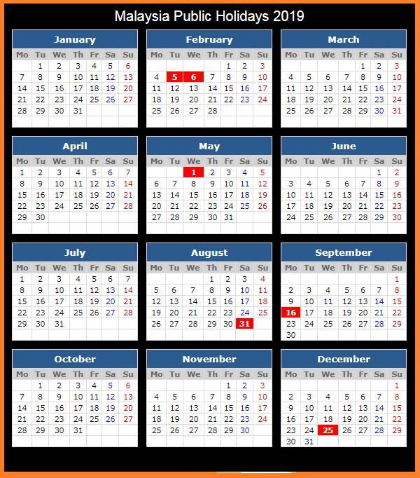 Public Holiday 2019 Malaysia Printable Calendar 2020 Printable Calendar Calendar 2020