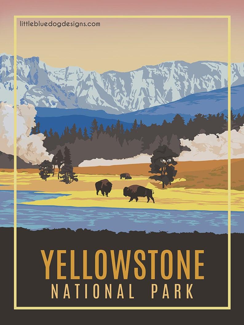 Yellowstone National Park Vintage Travel Poster Etsy Vintage National Park Posters Vintage Travel Posters Retro Travel Poster