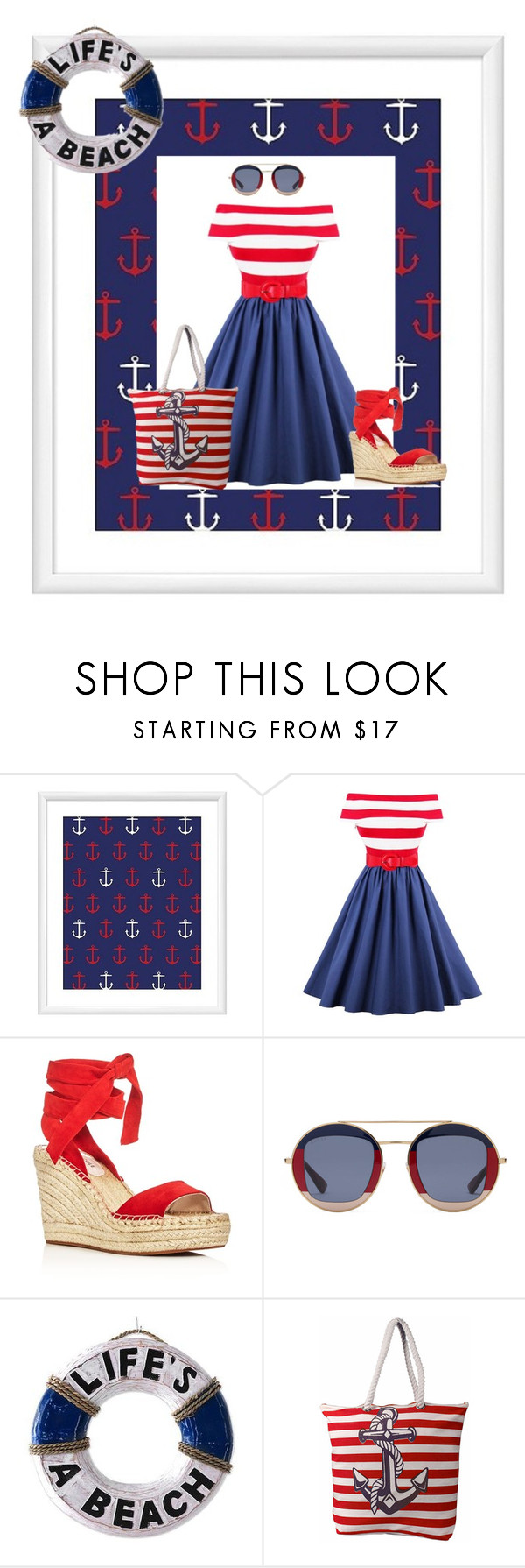 """""""Nautical Style I"""" by kaytekix ❤ liked on Polyvore featuring PTM Images, Kenneth Cole, Gucci, NOVICA, Peach Couture and Nautical"""