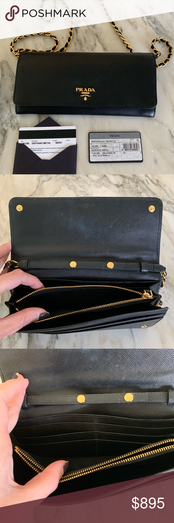 fcff195a4080 Black Prada Saffiano crossbody wallet Convertible clutch/wallet/crossbody.  Style 1M1290. 6