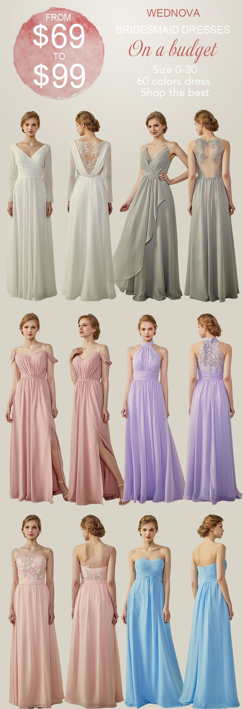 Popular chiffon bridesmaid dresses with long sleeves spaghetti