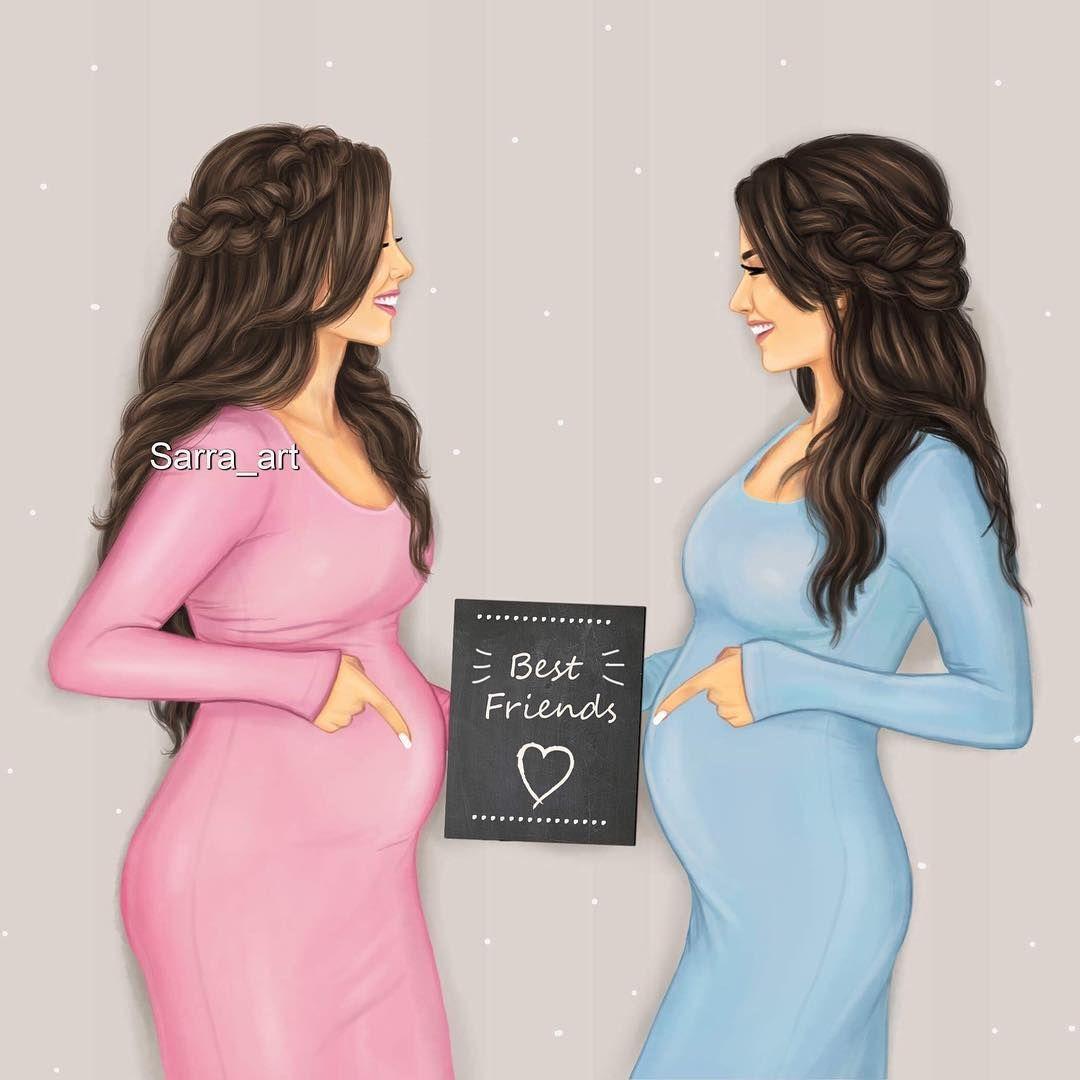 انا وأقرب صديقة ليا صديقة الطفولة حامل في نفس الوقت فرق بينا أسبووووع انا حام Mujer Embarazada Dibujo Retratos De Chicas Frases De Mamas Embarazadas