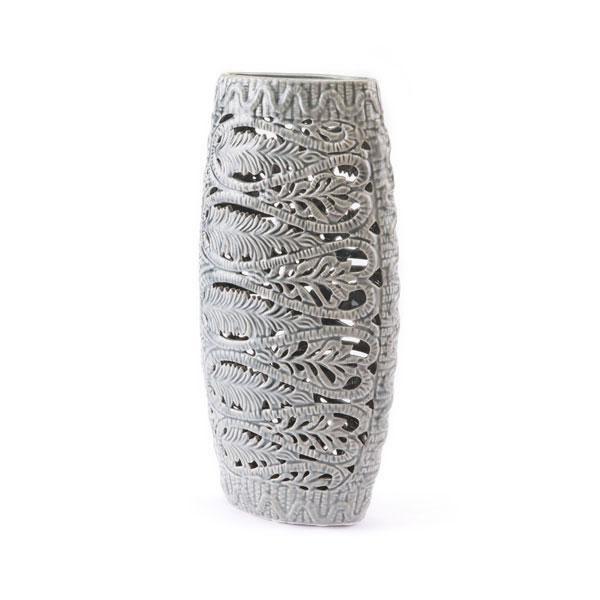 Leaves Tall Vase Gray WL-0042-ZM