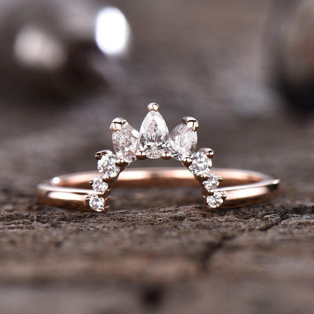 Crown Wedding Band Brilliant Moissanite Ring Curved