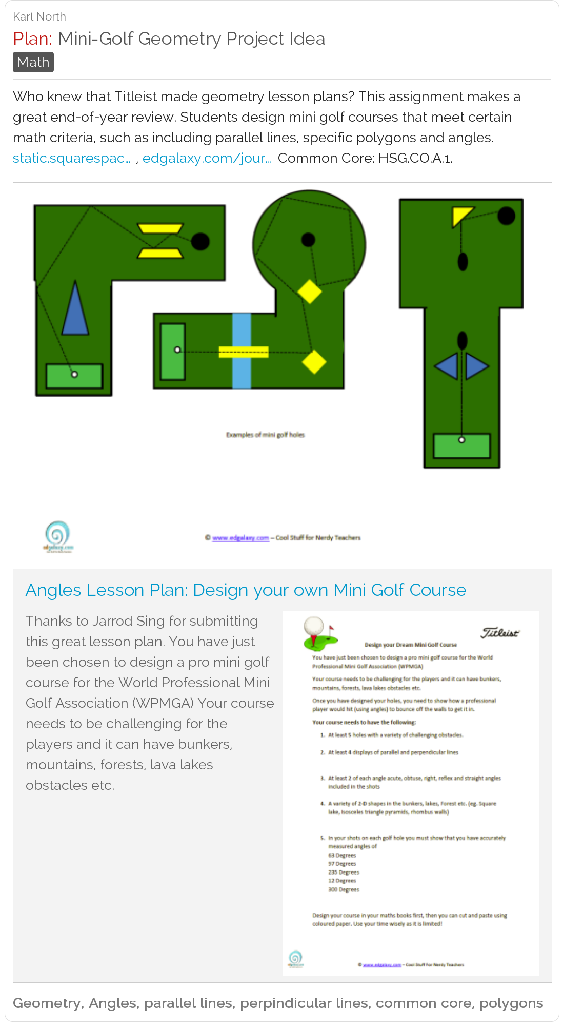 Mini Golf Geometry Project Titleist Has Made A Great