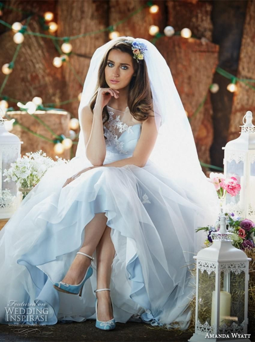 White and blue wedding dress  End Of Line Wedding Dresses Pretty Pastel Blue And White A Line