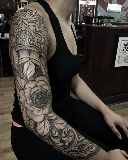 Laura Jade - Peony, filigree and mandala sleeve in progress