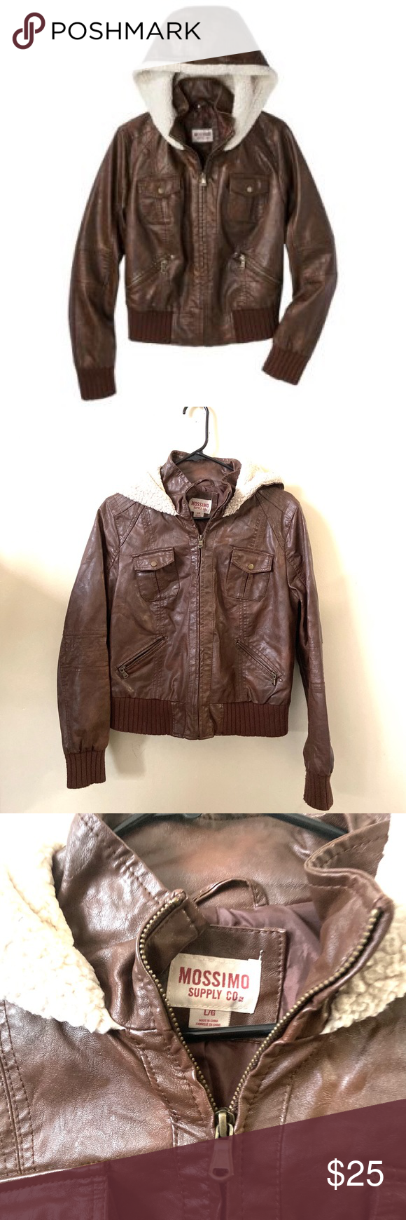 MOSSIMO SUPPLY CO Faux Leather Brown Hood Jacket Hooded